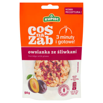 Kupiec Coś na ząb - Owsianka ze śliwkami to doskonałe pomysł na lekkie śniadanie. Zawiera błonnik.