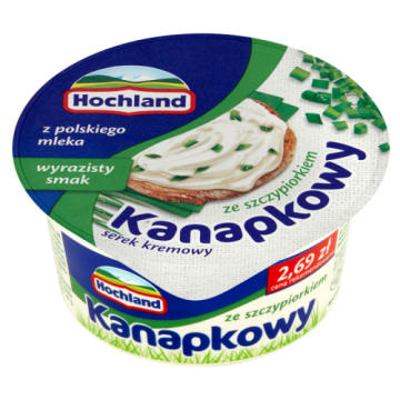 Hochland - Ser twarogowy ze szczypiorkiem. Doskonały dodatek do urozmaicania kanapek.