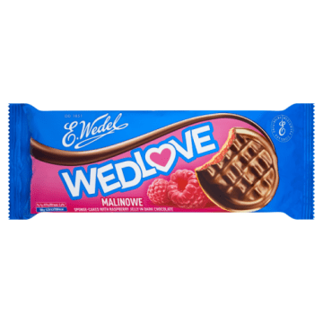 Biszkopty z galaretką malinową w czekoladzie – Wedel to delicje wśród słodyczy.