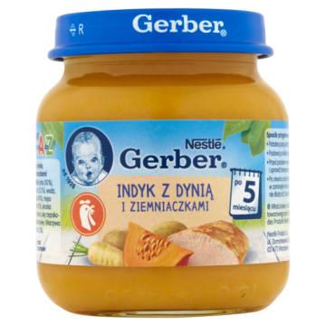 Gerber Indyk z dynią i ziemniakami po 5. miesiącu to wartościowe danie obiadowe dla niemowląt.
