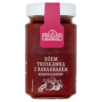 Dżem truskawkowo-rabarbarowy 250g OWOCOWA ROZKOSZ. Pyszny smak truskawek i rabarbaru w jednym dżemie