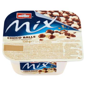 Muller Jogurt waniliowy z kulkami czekoladowymi Mix - kremowy i rozpływający się w ustach.
