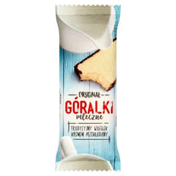 Wafelek mleczny Góralki- batonik to chrupiąca przekąska z mlecznym kremem i czekoladowym brzegiem.