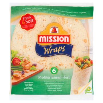 Tortilla z ziołami śródziemnomorskimi 6szt - Mission. Oryginalna alternatywa dla pieczywa.