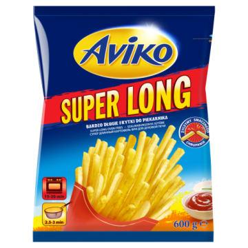 Frytki proste mrożone Aviko Super Long 600g. Najczęściej jedzone jako przekąska z dodatkiem soli.
