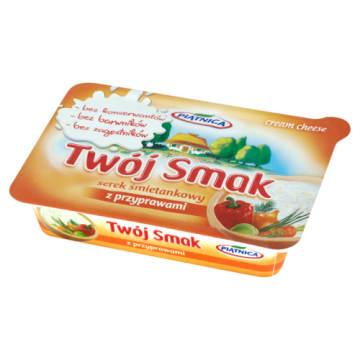 Piątnica Twój Smak - Serek z przyprawami. Pyszny śmietankowy serek doskonały do kanapek.