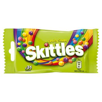 Draże o smaku owocoym Skittles to kwaśne cukierki z pyszną cukrową i chrupiącą polewą.