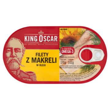 Filety z makreli w oleju KING OSCAR 170g Pyszna ryba bez ości w oleju roślinnym.