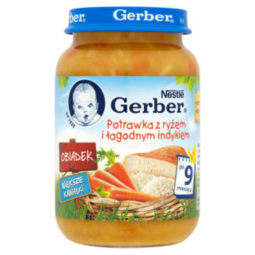 Gerber - Potrawka z ryżem i łagodnym indykiem po 9 miesiącu. Pyszny posiłek dla najmłodszych.