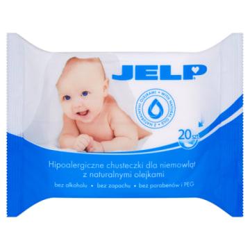 Hipoalergiczne chusteczki dla niemowląt Jelp pielęgnują delikatną skórę dzieci.