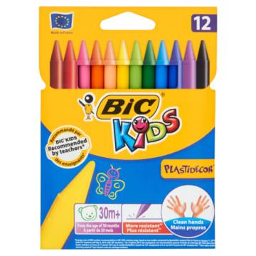 Kredki świecowe Plastidecor 12 kolorów - BIC Kids. Nietoksyczny produkt dla dzieci.