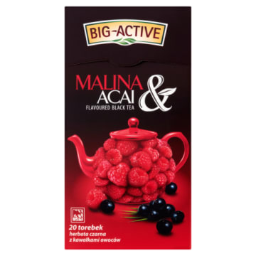Herbata czarna Malina&Acai - BIG-ACTIVE. Herbata która uraczy Cię głębią smaku.