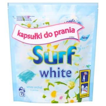 Surf - kapsułki do prania białego 15 sztuk. Skutecznie usuwa zabrudzenia i dba o biel ubrań.