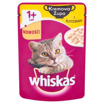Kremowa zupa z kurczakiem - karma Whiskas. Zadowolony i zdrowy kot.