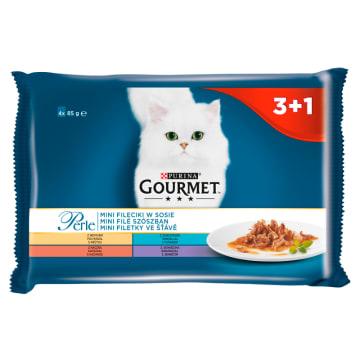 Karma dla kotów fileciki w sosie 4 szt. 340g - Gourmet to zestaw saszetek z pokarmem na 4 dni.
