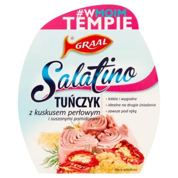Graal - Tuńczyk z kuskusem perłowym i suszonymi pomidorami. Świetna, zdrowa przekąska.
