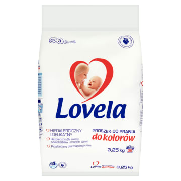 Lovela - Proszek do prania ubranek niemowlęcych (kolorowe) jest bezpieczny dla skóry dzieci.