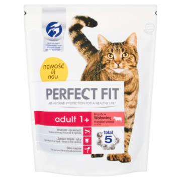 PERFECT FIT ADULT 1+ Pokarm Suchy Pełnoporcjowy dla Dorosłych Kotów - Bogaty w Wołow. 750g