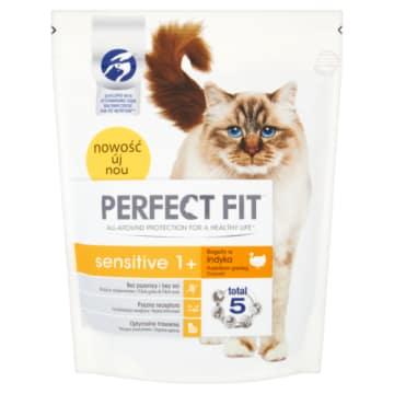 PERFECT FIT SENSITIVE 1+ Pokarm Suchy Pełnoporcjowy dla Dorosłych Kotów - Bogaty w Indyka 750g