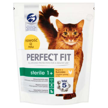 PERFECT FIT STERILE 1+ Pokarm Suchy Pełnoporcjowy dla Dorosłych Kotów - Bogaty w Kurcz. 750g