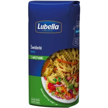 Makaron kolorowy świderki - Lubella. Wytwarzany z wysokiej jakości pszenicy - twardy i sprężysty.