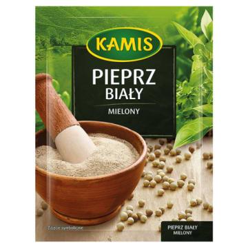 Kamis Pieprz biały mielony to delikatne i łagodne podkreślenie smaku mięs, serów i ryb.