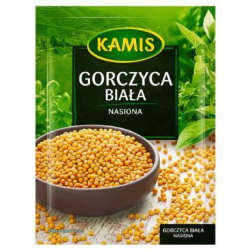 Gorczyca biała - Kamis. To nasiona o ostrym smaku uprawiane w wielu krajach. Produkt dietetyczny.