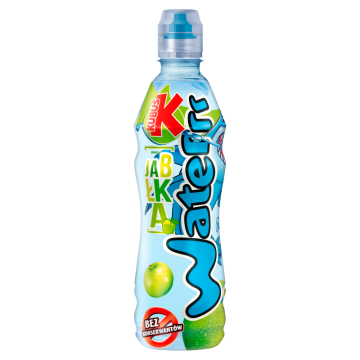 Waterrr o smaku jabłka KUBUŚ 500ml - niegazowany, jabłkowy napój na bazie wody źródlanej.