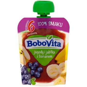BOBOVITA 100% SMAKU Jagody i jabłka z bananem po 6 miesiącu 80g