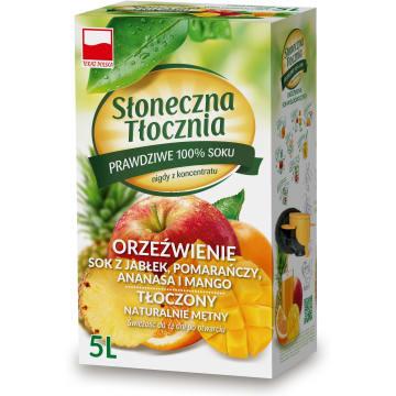 SŁONECZNA TŁOCZNIA Orzeźwienie Sok z jabłek, pomarańczy, ananasa i mango 5l