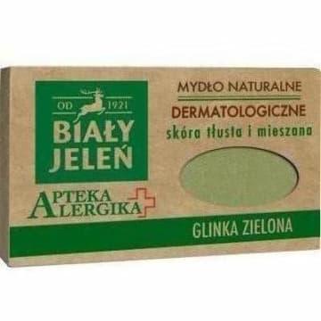 BIAŁY JELEŃ Apteka Alergika Mydło dermatologiczne z zieloną glinką 125g