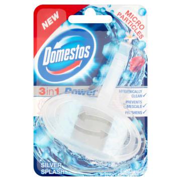 DOMESTOS 3in1 kostka do WC Silver Splash koszyczek 40g. Dla czystości i ochrony przed zarazkami.
