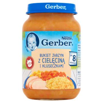 jarzyny cielęcina kluski danie GERBER 8 od miesiąca 190g - obiadek z kluskami, jarzynami i mięsem.
