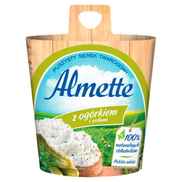 Hochland - Almette serek twarogowy z ogórkiem 150g. Delikatny i puszysty serek.