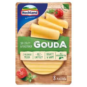 Ser żółty w plastrach Gouda - Hochland w wygodnym opakowaniu. Idealny do kanapek.