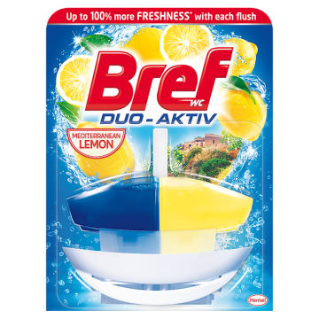 Zawieszka do WC Lemon Fresh - Bref Duo Aktiv. Zapewnia czystość i świeży zapach.