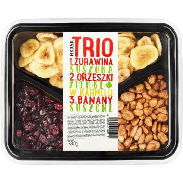 HEBAR Trio Orzeszki ziemne w karmelu i żurawina banany suszone 330g