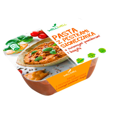 WELL WELL Pasta z pestkami słonecznika z suszonymi pomidorami i bazylią 125g