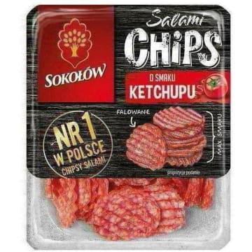 SOKOŁÓW Salami Chips Chipsy salami o smaku ketchupu 60g