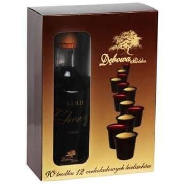 DĘBOWA POLSKA Gold Likier wiśniowy + 12 czekoladowych kieliszków 700ml