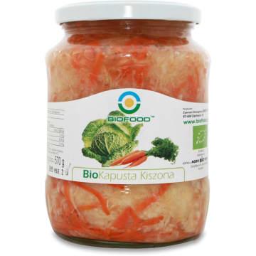 Kapusta kwaszona 700 g – Bio Food. Produkt pochodzący z upraw ekologicznych – pasteryzowany.