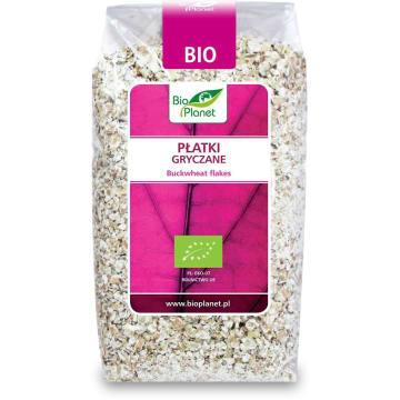 Płatki gryczane BIO 300 g – Bio Planet. Wytwarzane ze zgniecionych ziaren gryki.