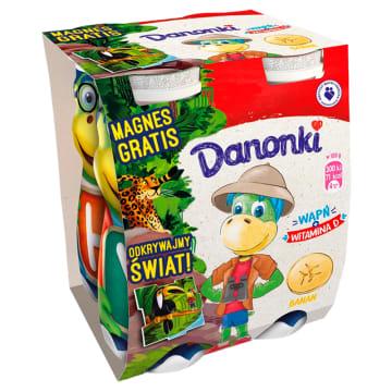 Jogurt do picia bananowy 4x100g 400g - Danone. Smaczna przekąska i bogate źródło wapnia oraz białka.