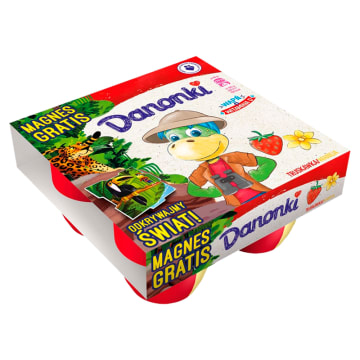 Danone Pół na Pół o smaku truskawkowym i waniliowym. Bogate źródło wapnia i witaminy D.