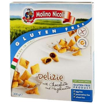 Bezglutenowe poduszki z nadzieniem czekoladowo-orzechowym - Molino Nicoli