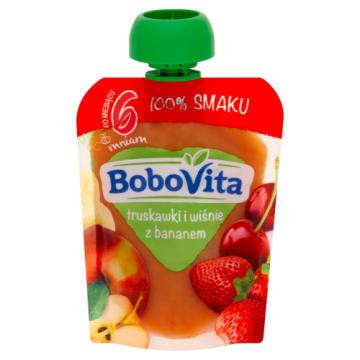 BOBOVITA 100% SMAKU Truskawki i wiśnie z bananem po 6 miesiącu (tubka) 80g