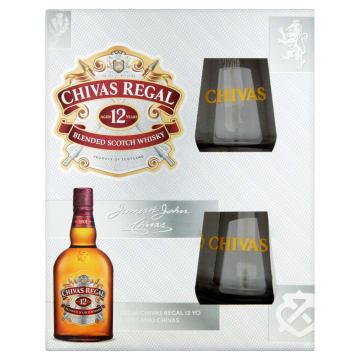 CHIVAS REGAL Szkocka whisky mieszana 12-letnia + 2 szklanki 700ml