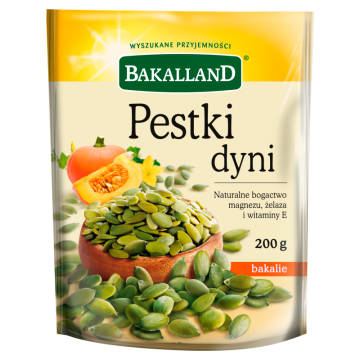Łuskane pestki dyni - Bakalland to bogate źródło nienasyconych kwasów tłuszczowych.
