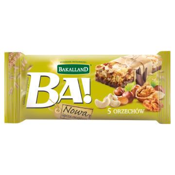 Baton zbożowy 5 orzechów w polewie mleczno- kakaowej 40g - Bakalland Ba!