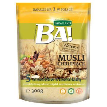 Bakalland Ba! - musli 5 orzechów z czekoladą. Kompozycja orzechów, owsa, pszenicy.